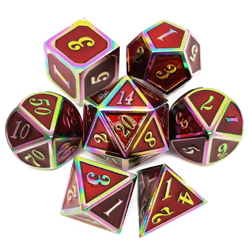 Rainbow Metal DND Dice-Red Rainbow