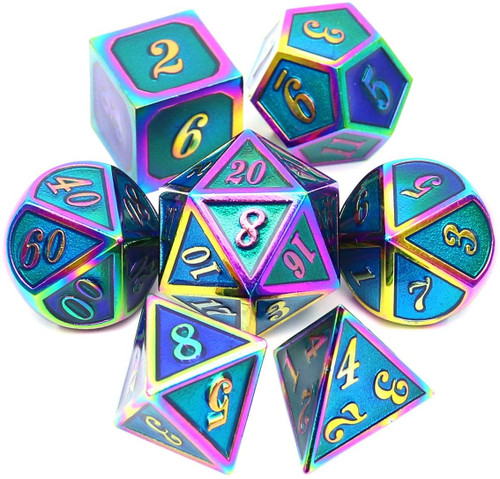 haxtec metal dnd dice set, blue dnd dice set, blue metal dice, rainbow metal dice