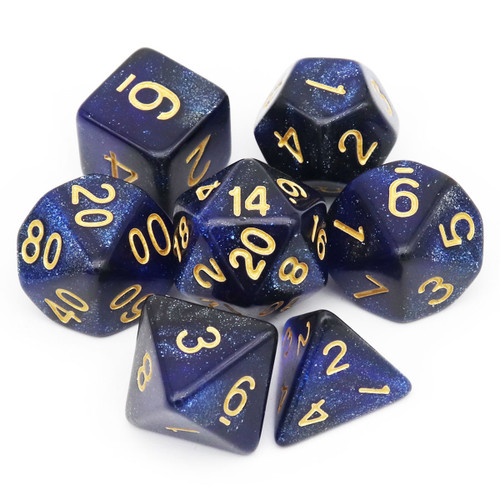 7PCS Nebula Glitter DND Dice Set-Blue Black Nebula