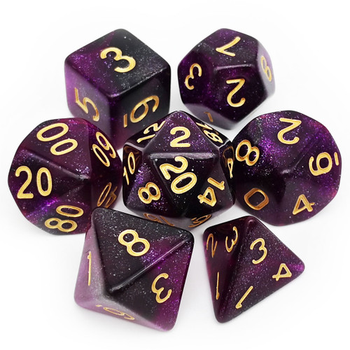 7PCS Nebula Glitter DND Dice Set-Purple Black Nebula
