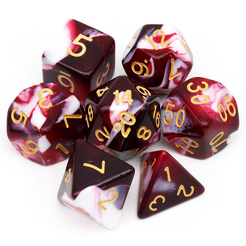 7PCS Gemini Two-tone Polyhedral DND Dice Set-Red White