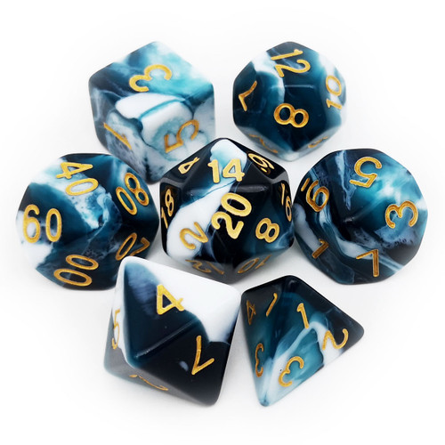 7PCS Two-tone Gemini Polyhedral DND Dice Set-Teal  White
