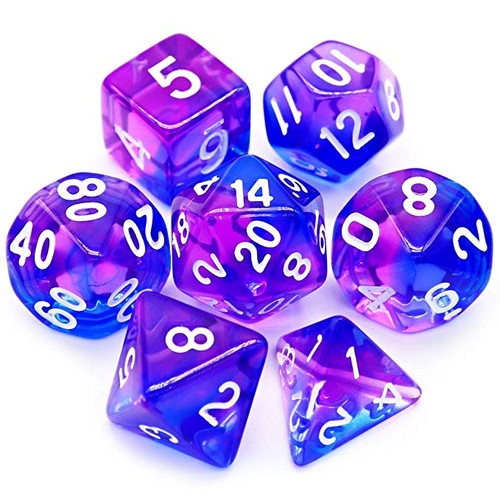 7PCS Gemini Two-tone Polyhedral DND Dice Set-Purple Blue