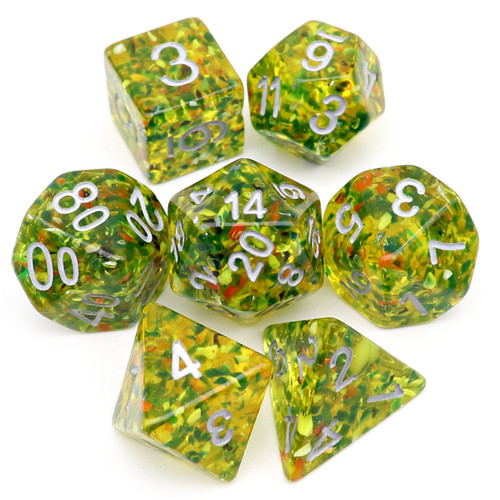 Olive Silver Number Confetti DND Dice Set-Deap Forest: Early Winter