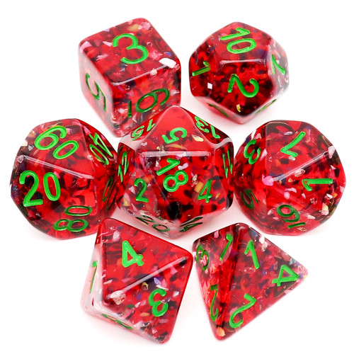 red dice, christmas dice, resin dice, dice set, rpg dice, polyhedral dice