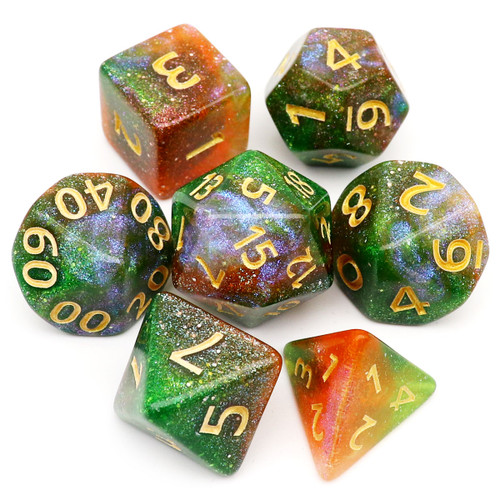 Iridescent Glitter DND Dice Set-Orange Green Lavender-Fairy Land
