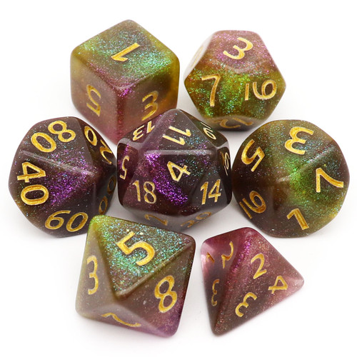 Iridescent Glitter DND Dice Set-Grey Purple Green-Moonlit River