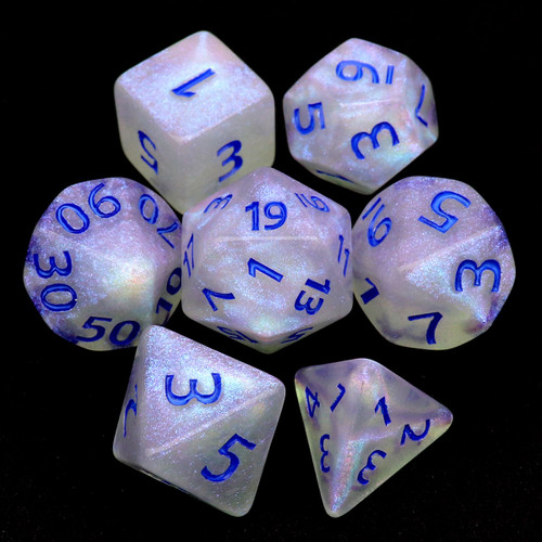 Iridescent Glitter DND Dice Set with Navy Blue Bumbers-Milky Way