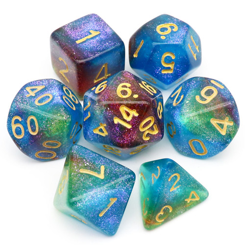 Iridescent Glitter DND Dice Set Blue Green Purple-Mermaid