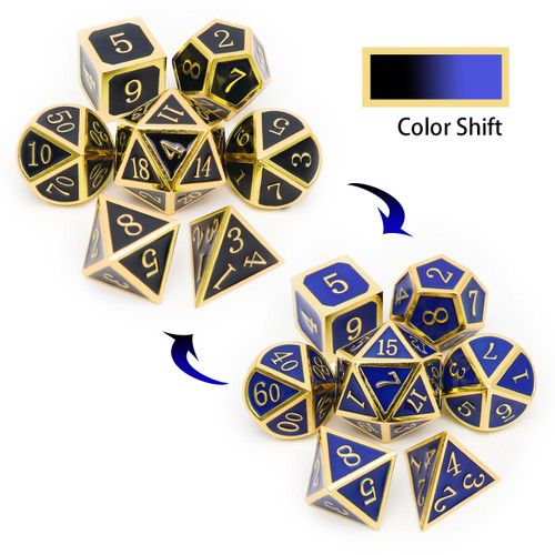 temperature color changing metal dnd dice, color changing dice, dnd dice set, gold black blue dice, temeparature dice