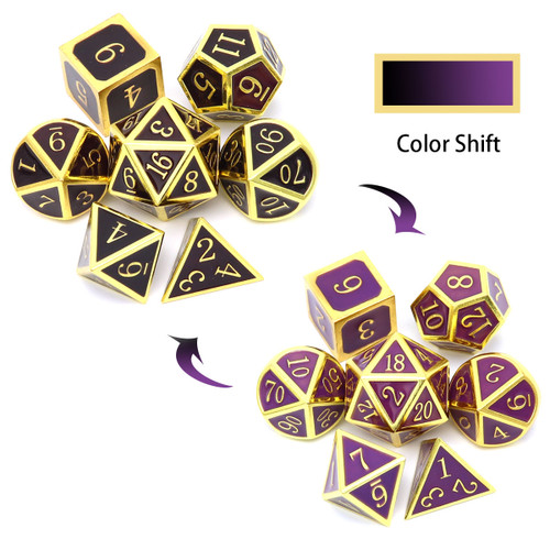 color changing metal dice, temperature sensitive dice, temperature color changing dice, color shift dice, color changing dice, heat sensitive dice
