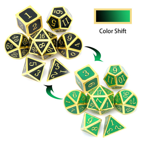 color changing metal dice, metal dnd dice , dnd dice set, gold dice, black dice, green dice, temperature dice