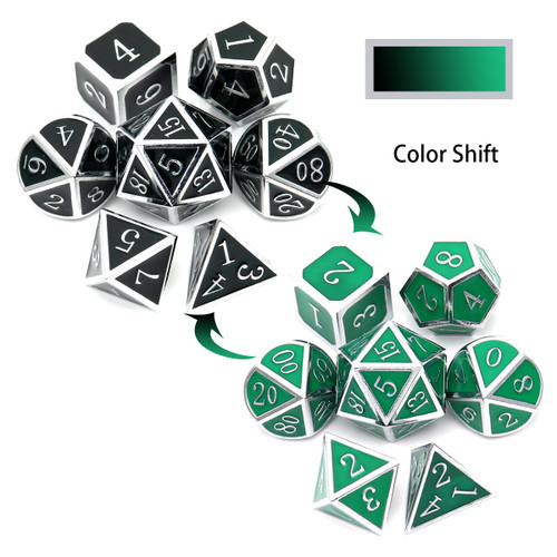silver black green metal dice, color changing metal dice, temperature color changing dice, temperature sensitive dice, metal dnd dice, dnd dice, silver black metal dice, silver green metal dice