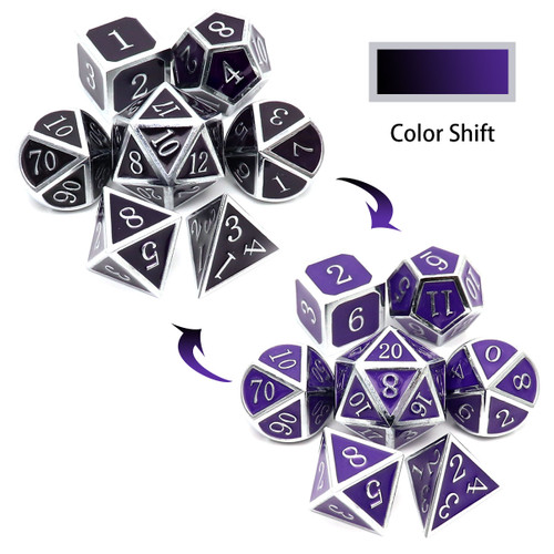 metal dice , silver black purple metal dice, color changing metal dice, temperature color changing dice, thermo-sensitive dice, dragon dice, silver metal dice, black metal dice, purple metal dice,
