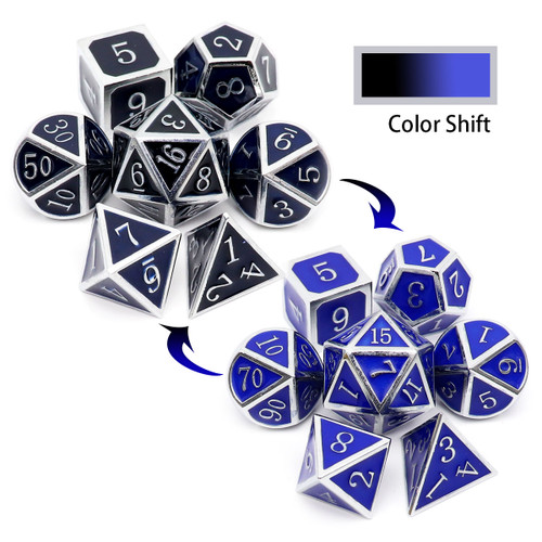 color changing metal dice, heat sensitive dice, temperature dice, temperature color changing dice, silver metal dice, silver black dice, silver blue dice, black blue dice