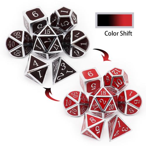 heat sensitive dice, temperature color changing dice, temperature dice, dices change colors with temperature, metal dice red, metal dice black , silver black red metal dice, metal dnd dice, rpg metal dice