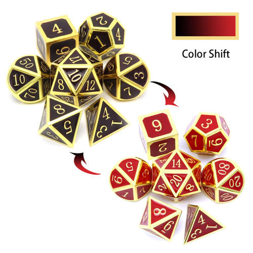 heat sensitive dice, temperature color changing dice, temperature dice, dices change colors with temperature, metal dice red, metal dice black , gold black red metal dice, metal dnd dice, rpg metal dice
