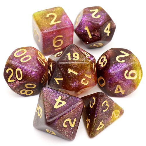 Iridescent Glitter DND Dice Set Grey Yellow Purple