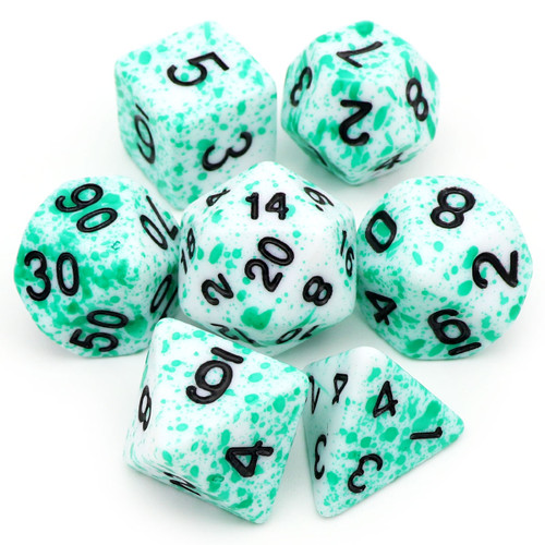Speckled DND Dice Set Green Spots