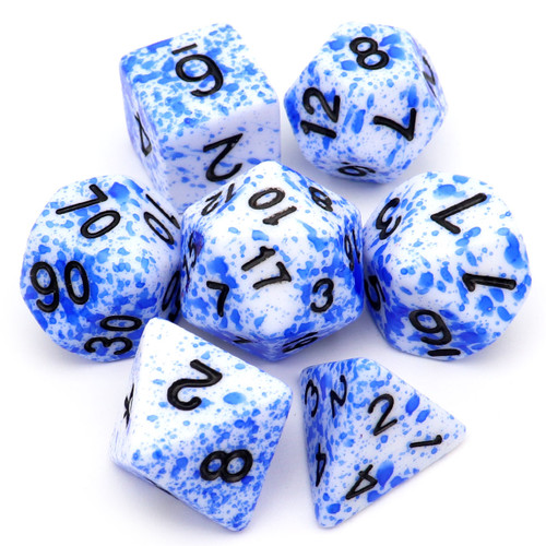 Speckled DND Dice Set Blue Spots