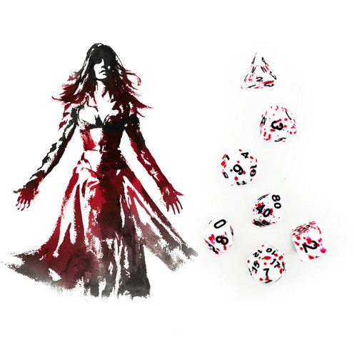 Speckled DND Dice Set Red Blood Spot
