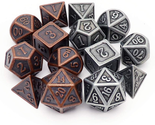 Antique Metal DND Dice Set-2Pack(Antique Iron+Antique Copper)