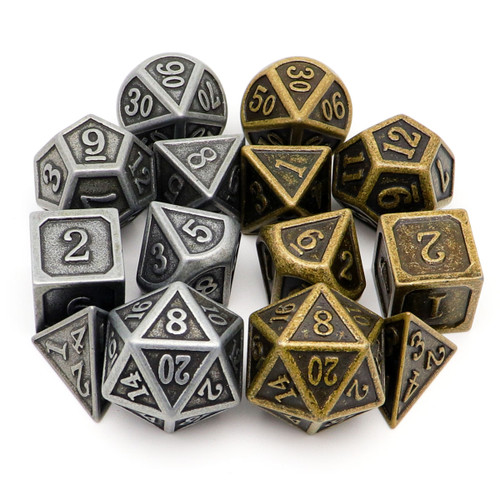 Antique Metal DND Dice Set-2Pack(Antique Iron+Antique Bronze)