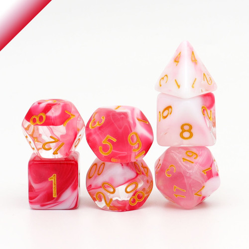 Pink White Clear DND Dice Set