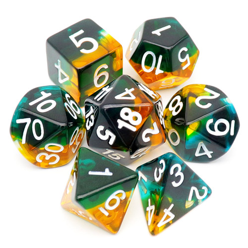 Dark Green Amber DND Dice Set