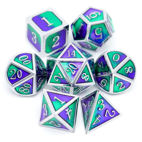 haxtec metal dnd dice, metal dice,  silver purple green dice, dnd dice, metal dnd dice