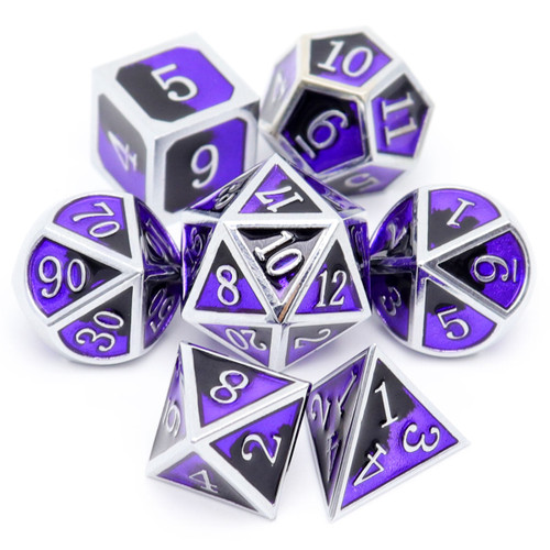 haxtec metal dnd dice, metal dice, dnd dice set, silver metal dice, purple metal dice, black metal dice