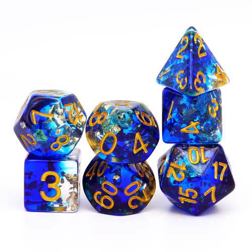 blue gold leaf dice set dnd