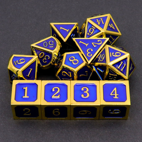 gold blue metal dice, metal dice, gold dice, blue dice, dnd dice, dice set , rpg dice, dd dice , d&d dice, metal dnd dice, metal dice set d&d