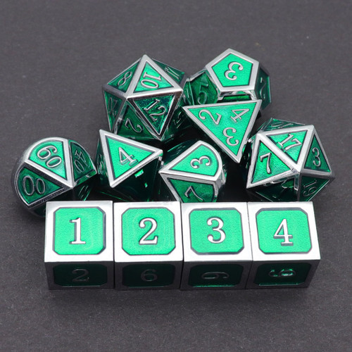 silver green metal dice, dice set ,dd dice, dnd dice, dice set, rpg dice, dragon dice, haxtec dice, haxtec metal dice, haxtec
