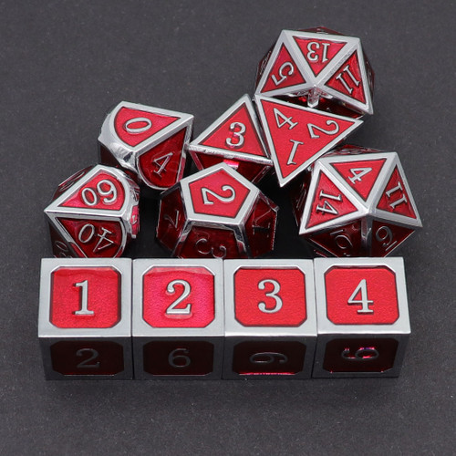 silver red dice, metal dice, metal dnd dice, dice set, rpg dice, dd dice, haxtec dice, haxtec, haxtec dnd dice, dungeons and dragons, pathfinder,red metal dice