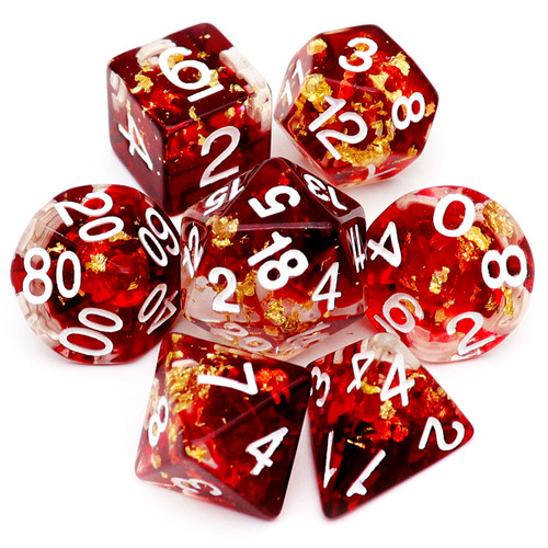 red resin dice, resin dice, dnd dice, dice set, dungeons and dragons, haxtec dice, rpg dice, red dice. gold leaf dice