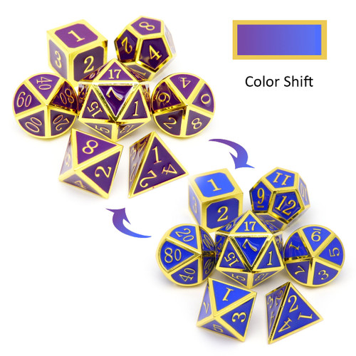 gold purple blue dice, color changing dice, haxtec dice, heat sensitive dice, gold metal dice, purple blue dice, rpg dice, dnd dice, dice set.