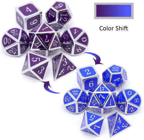 silver metal dice, silver purple dice, silver blue dice, metal dnd dice, dice set, metal dice, color changing dice, heat sensitive dice.