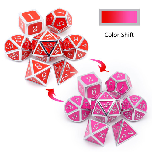haxtec metal dice, silver metal dice, silver red dice, silver pink dice, metal dnd dice, dice set, metal dice, color changing dice, heat sensitive dice.