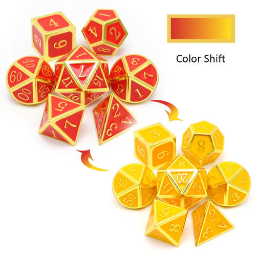 haxtec red yellow color changing metal dice set, metal dnd dice, rpg dice set