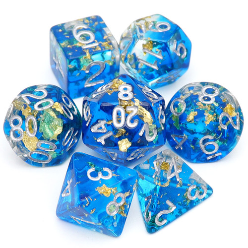 watery blue dnd dice, gold leaf dice, resin rpg dice
