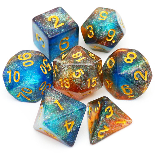 haxtec glitter dnd dice set, blue tea dice set, fire opal dice set, rpg dice, dragon dice, d&d dice