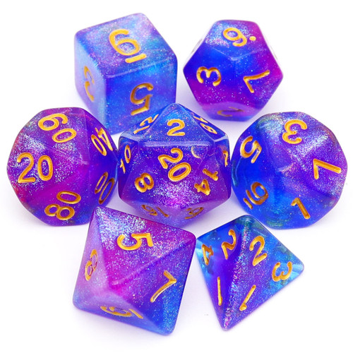 Haxtec blue purple glitter dice with color changing aurora glitters
