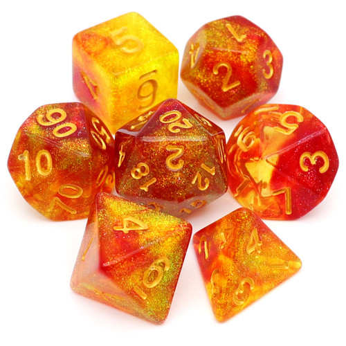 red yellow dnd dice set glitter rpg dice