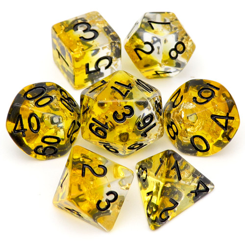 yellow dnd dice set, dnd dice, dice set, rpg dice, amber dice