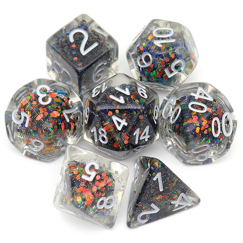haxtec glitter dnd dice set with black and red color changing glitters
