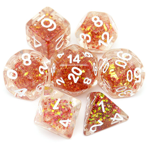 Shelled DND Dice Set with Iridescent Glitter Core-Red Gold Shift