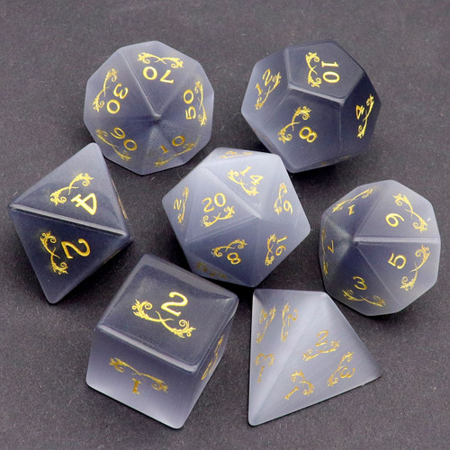 grey gemstone dice