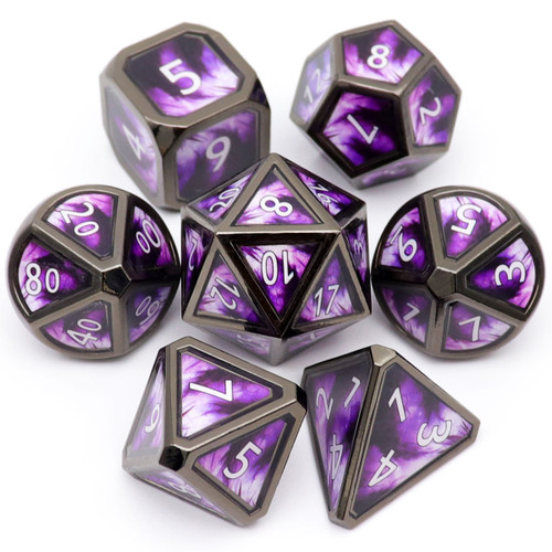 purple metal dice, real scene dice, haxtec dice