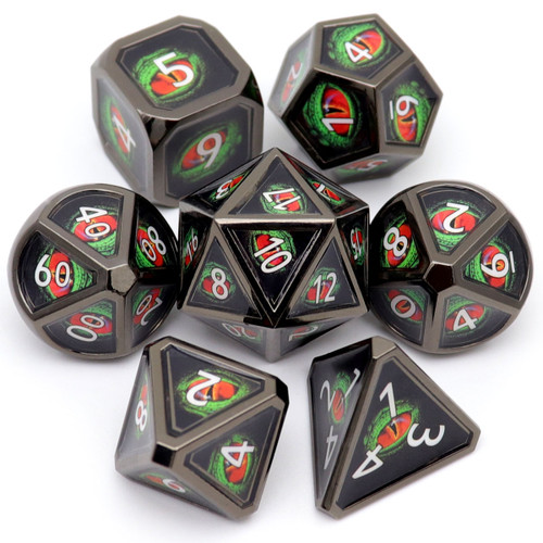 metal dnd dice, real scene dice, dragon eye dice. metal dice